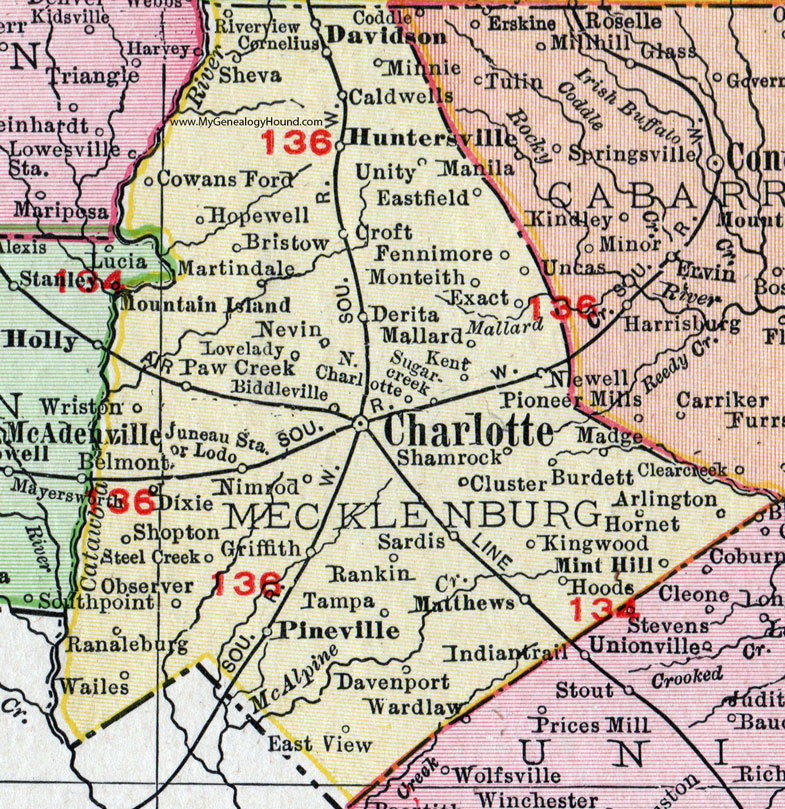 Charlotte Nc Map With Counties | Metro Map