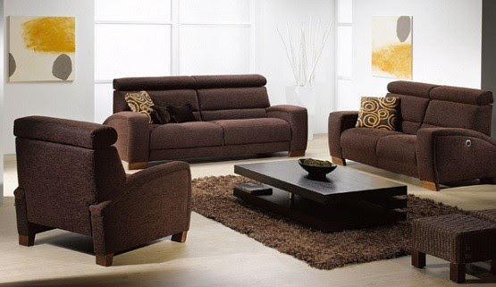 Brown Sofa and Rug in contemporary living room