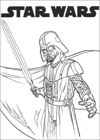 Disegno Di Darth Vader Con La Spada Laser Da Colorare Disegni Da