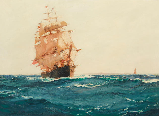 Montague Dawson (British, 1890-1973) Up Channel - The Red Jacket 22 x 30 in. (55.8 x 76.2 cm.)