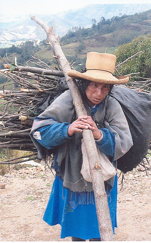 Indigenous women in rural Peru have to walk longer and longer distances to find firewood. Credit: Elena Villanueva/IPS