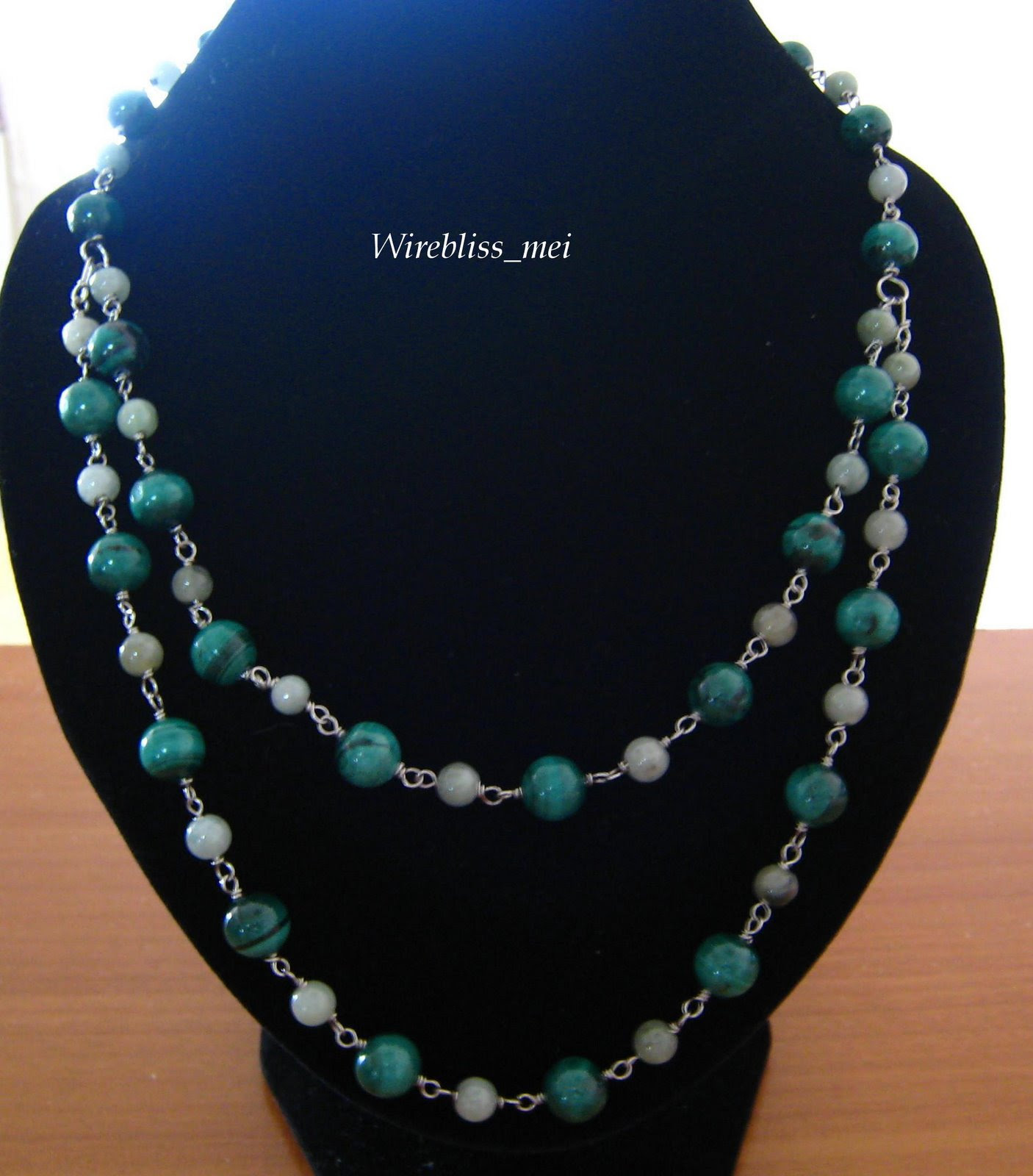 wire wrap malachite and jade necklace - detachable double strand necklace