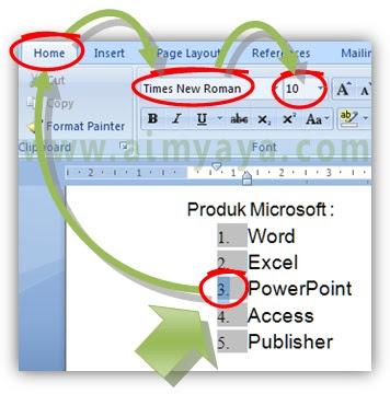 Gambar: Cara merubah format font numbering agar sama dengan teks di microsoft word