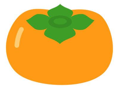 フリー素材 柿を描いたシンプルなベクターイラスト秋らしいデザインに
