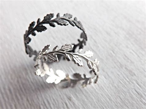 Buy a Hand Made Oak Leaf Ring Silver, Silver Eternity Ring