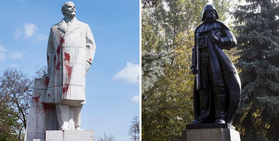 La estatua de Lenin que ha sido convertida en Darth Vader