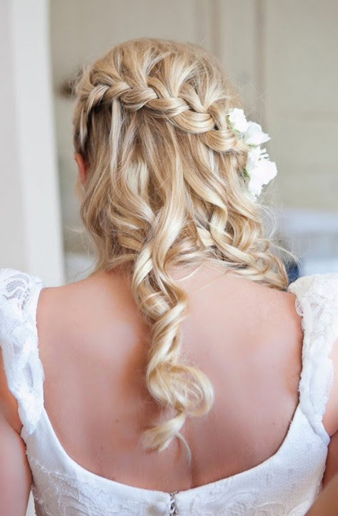 Beautiful Waterfall Braid  Hairstyles  for Wedding  Back