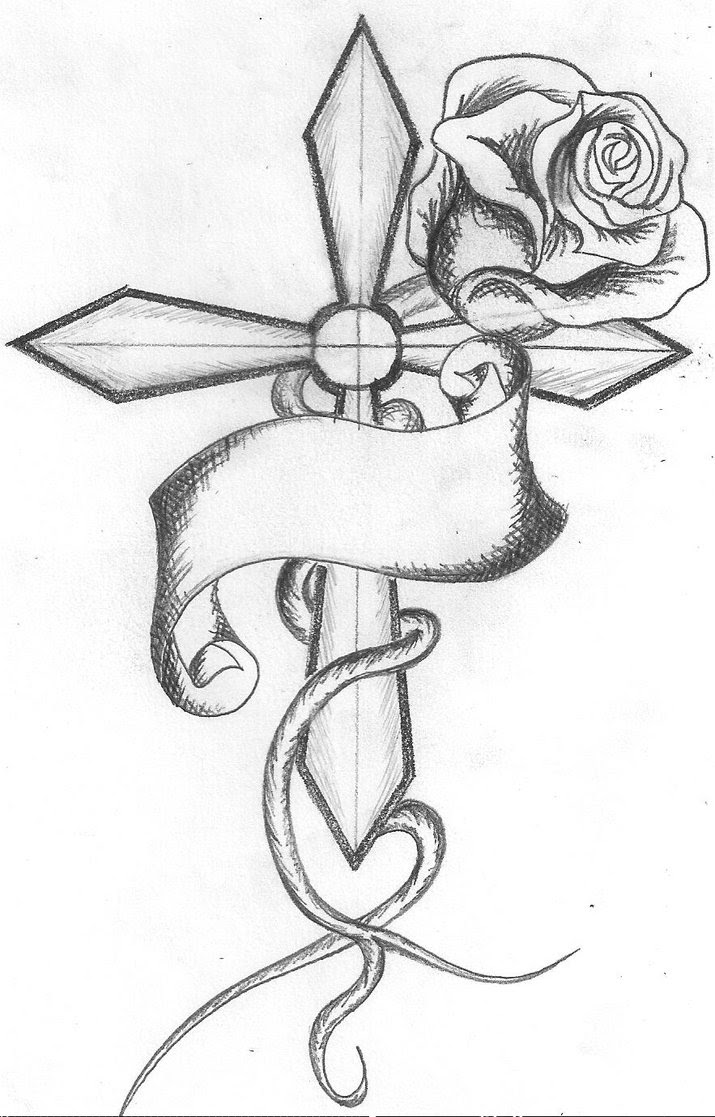 Cross With Rose Tattoo Design