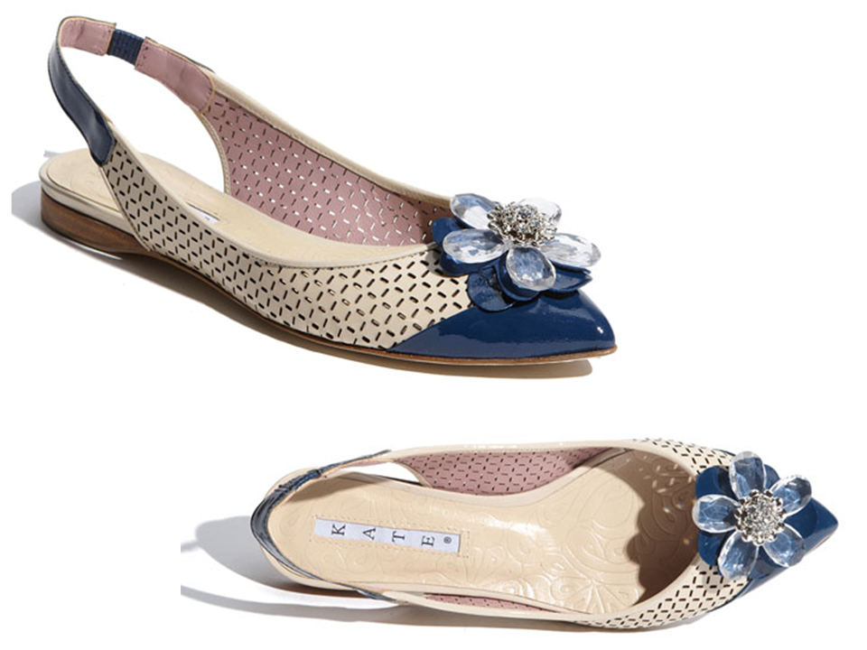 Chic Kate Spade flat bridal shoe with Something Blue flower brooch