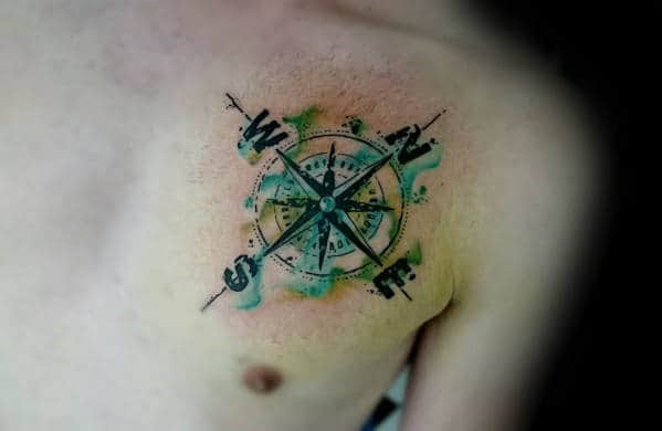 40 Watercolor Compass Tattoo Designs For Men Cool Ideas