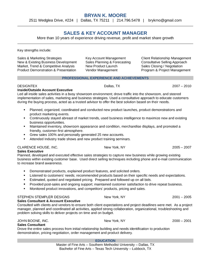 simple key account manager resume l1