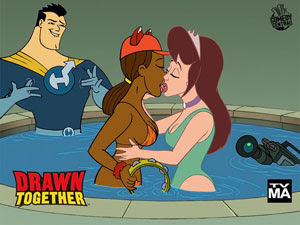 The hot tub kiss as depicted in promotional po...