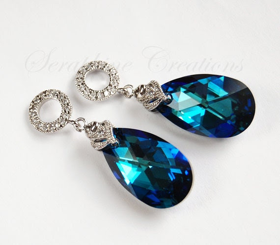 Blue bridal earrings - Swarovski Bermuda Blue crystals with white gold plated cz detailed posts FREE SHIPPING