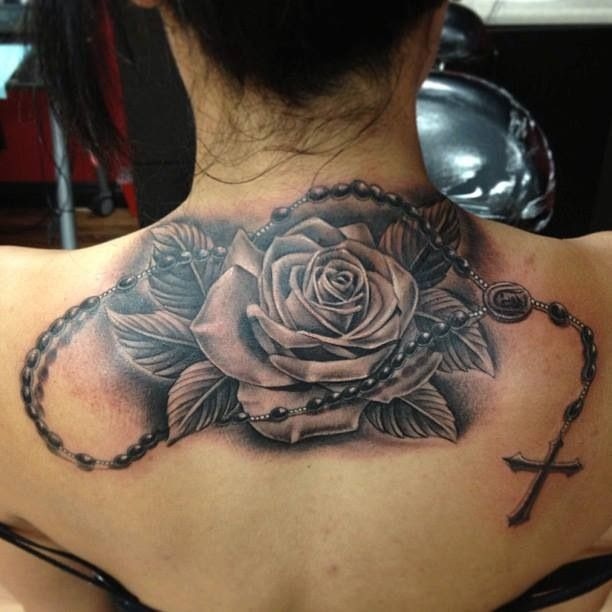 Red Rose Tattoo On Upper Shooulder