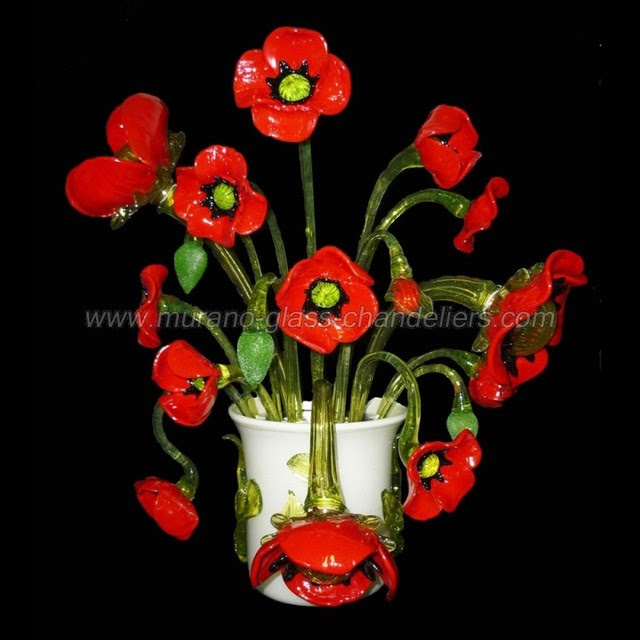 Vase of poppies - Murano glass wall sconce - contemporary - wall ...