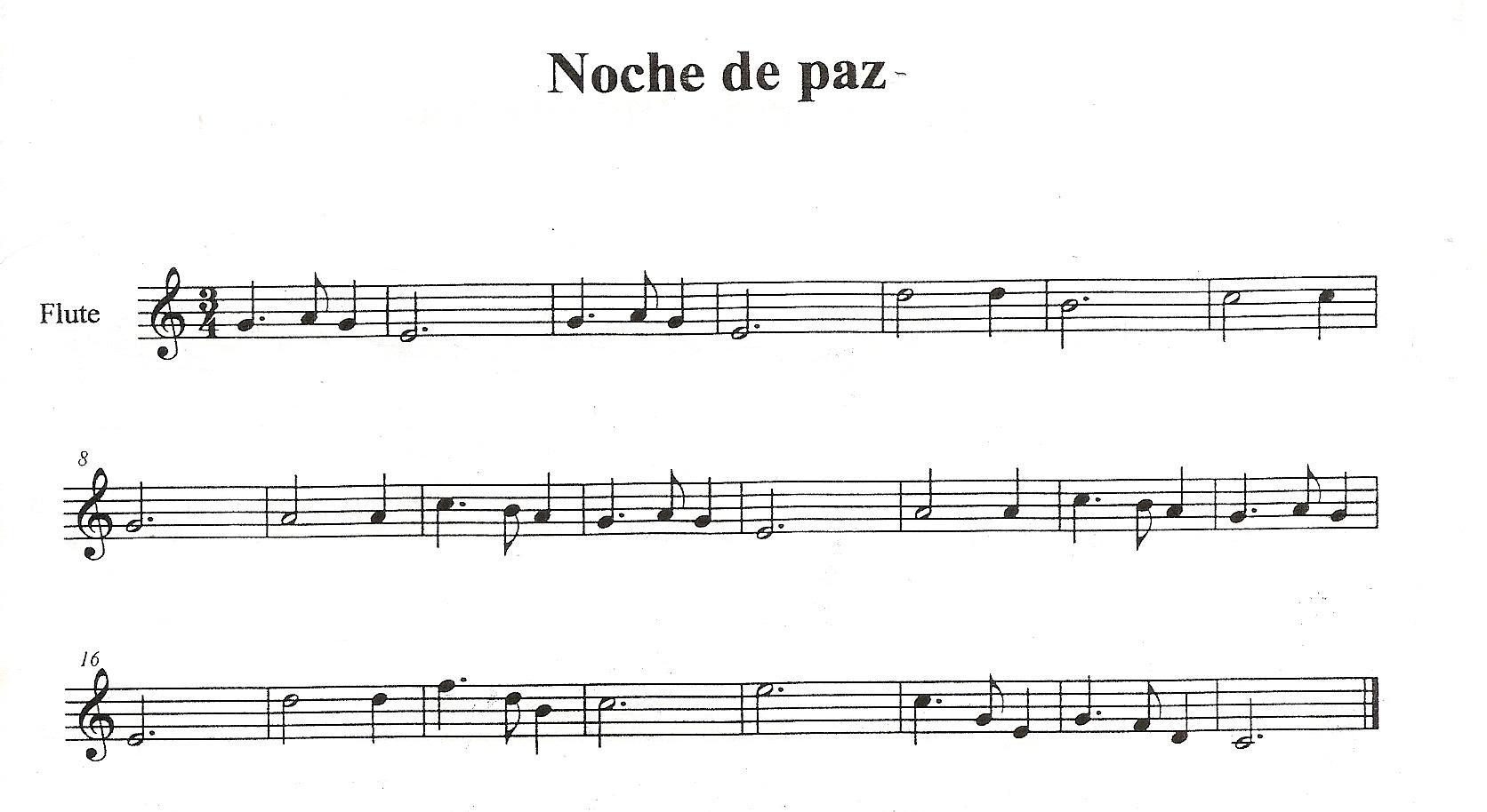 Partitura Fácil de Noche de Paz para Flauta o cualquier instrumento en Clave de Sol Easy Flute sheet music for Silent Night (treble clef beginners)