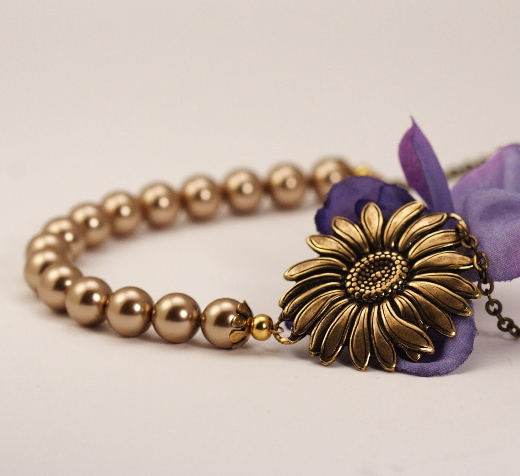 Vintage Style Sunflower Bloom Necklace - Bronze Pearls and Antique Gold
