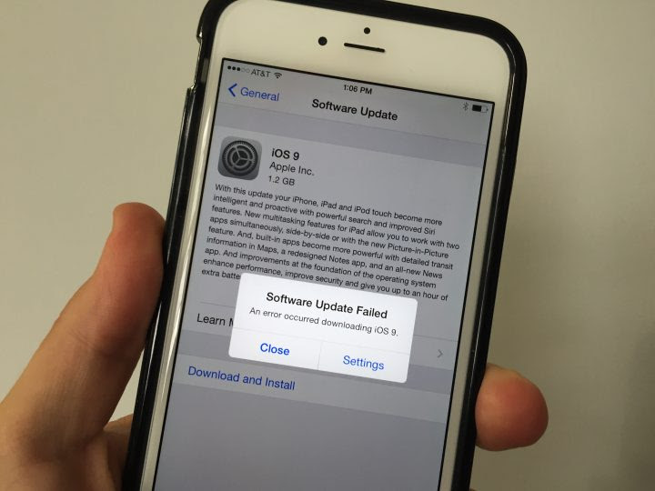 Many users see the iOS 9 software update failed error.