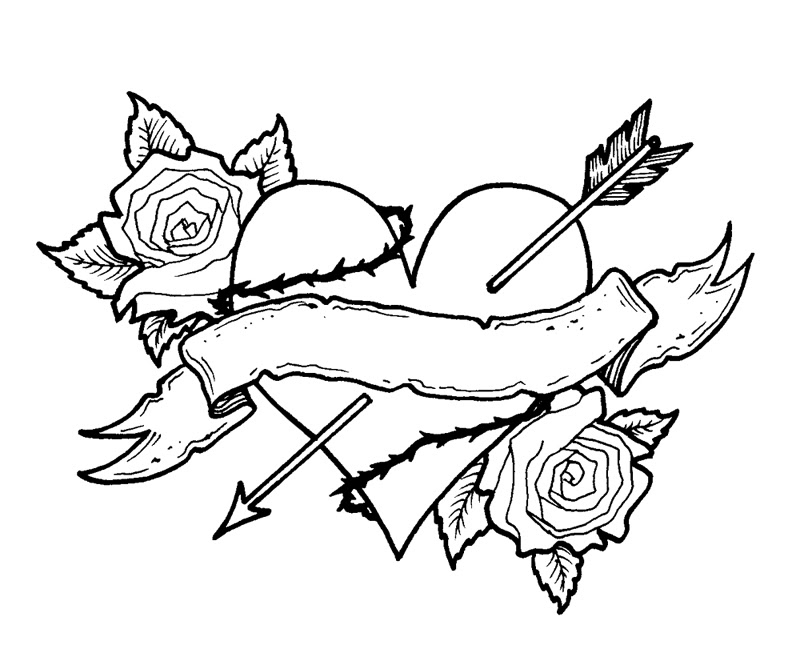 Free Pencil Sketches Of Hearts And Roses Download Free Clip Art
