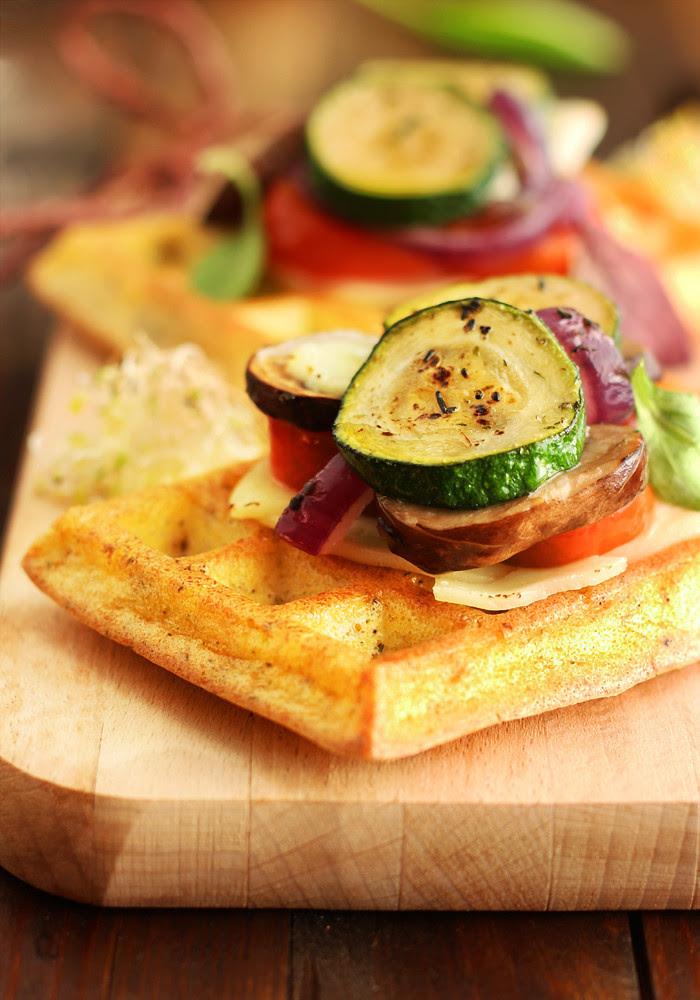 gofres de polenta con verduritas