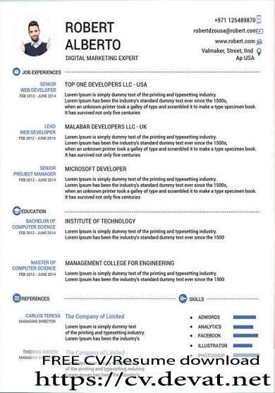 Classic Resume Template Free Download with Doc Format - CV Resume download Share