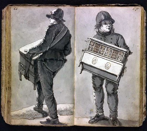 man with street organ