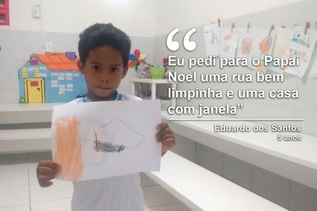Eduardo até desenhou a casa melhor que queria ganhar do Papai Noel (Foto: Marcio Chagas/G1)