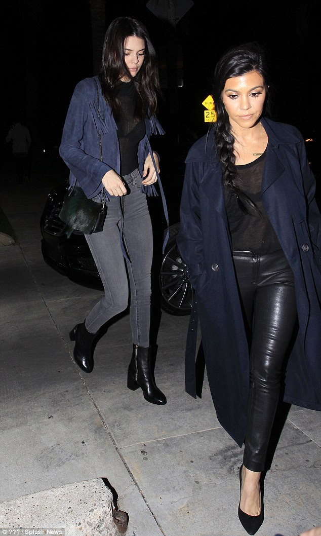 Busy night: Kourtney was also spotted with younger sister Kendall Jenner in LA on the same night