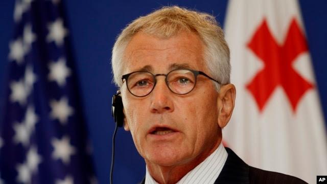 Bộ trưởng Quốc phòng Mỹ Chuck Hagel phát biểu trong cuộc họp báo tại Tbilisi, ngày 7/9/2014.