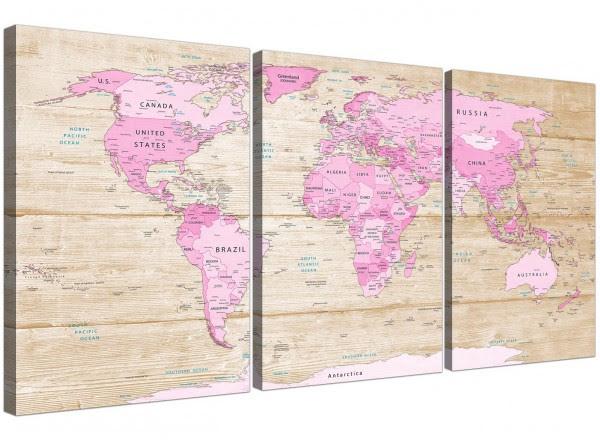 Large Pink Cream Map Of World Atlas Canvas Wall Art Print