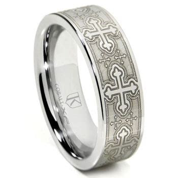 Cobalt XF Chrome Laser Engraved Wedding Band Ring w/ Cross