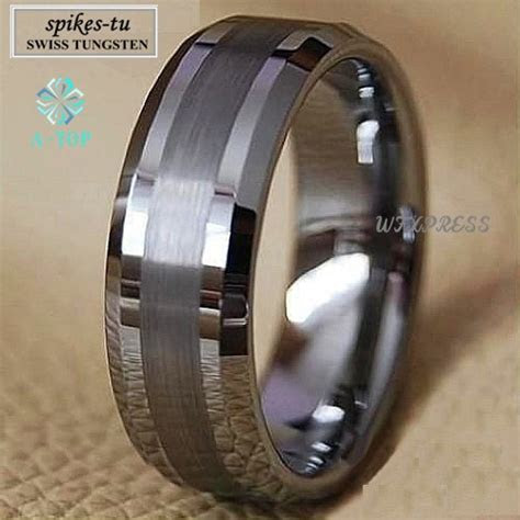 titanium color  tone tungsten carbide ring mens
