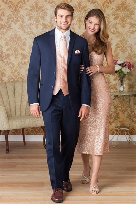 Make sure his vest and tie match your rose gold gown
