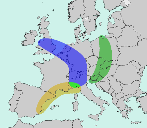 The Bananas of Europe are three megalopolis regions of Europe named after their curved shape.