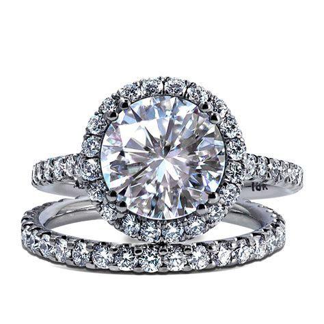 Diamond Wedding Ring Engagement band pair on white gold