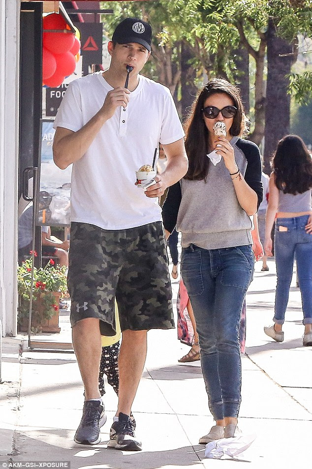 Celebrity couple: Ashton, 38, took his ice cream in a cup while Mila, 32, opted for a waffle cone. The pair wed in July 2015, 10 months after welcoming their daughter