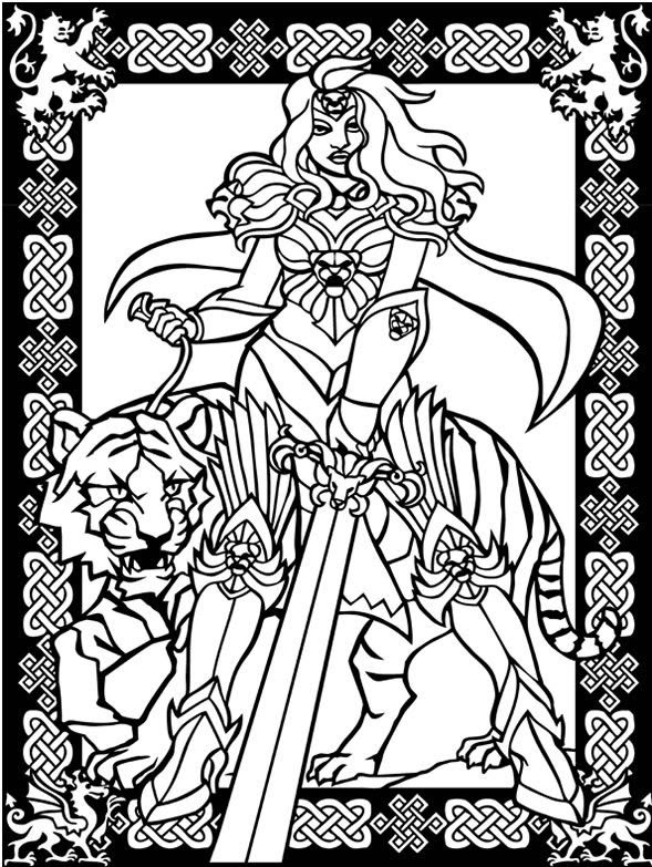 dying warrior coloring 1