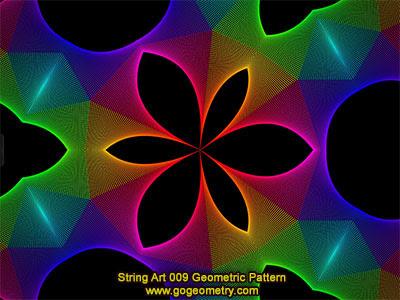 String Art 09: Bézier curves, Geometric Pattern, Symmetry, Software.