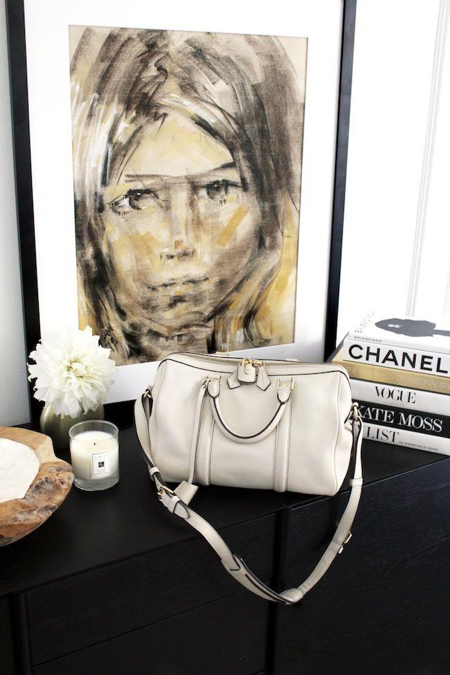 Le Fashion Blog Sofia Coppola Louis Vuitton SC Bag PM The Real Real Consignment Stylish Home Decor Fashion Books Vintage Mid Century Art White Dahlia