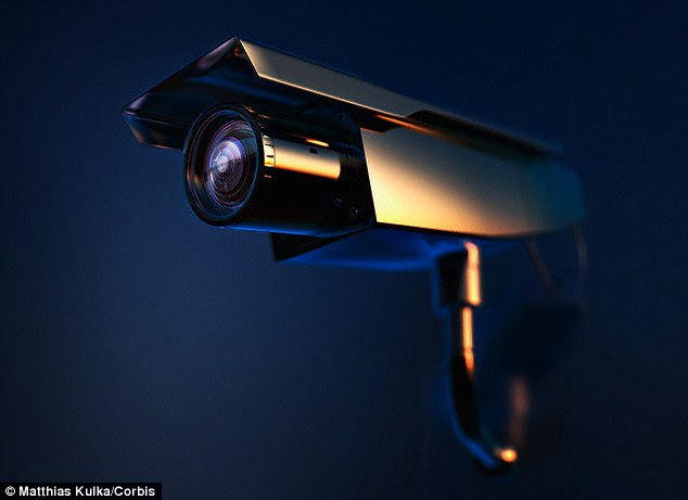 A refined version of he machine could one day be used to reveal what people caught on CCTV footage are sating. A stock image of a CCTV camera is shown.Professor Harvey said: 'Lip-reading is one of the most challenging problems in artificial intelligence so it's great to make progress on one of the trickier aspects'