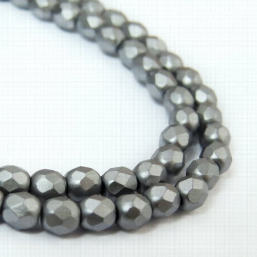 27099000-20 Firepolish - 4 mm Faceted Round - Pearl Pastel Cool Grey (strand 45)