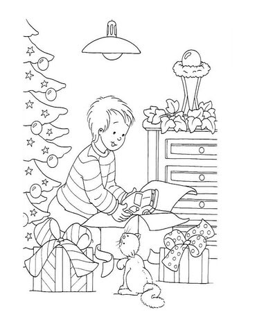 クリスマスプレゼントを開ける男の子 ぬりえ
