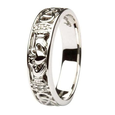 Claddagh Diamond Set ladies Wedding Ring With Celtic Knot Work