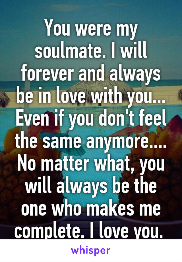 You Were My Soulmate I Will Forever And Always Be In Love With You