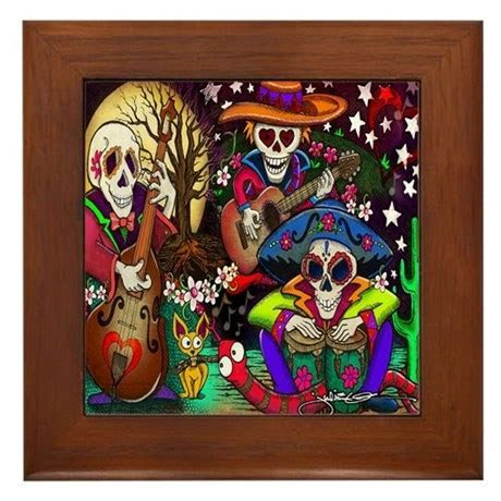 Day of the Dead Music art Framed Tile by julieoakes