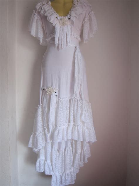 white bohemian gypsy dress with ruffles of lace/roses and