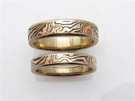 Hand Made Gold And White Gold Mokume Gane Ring Set by