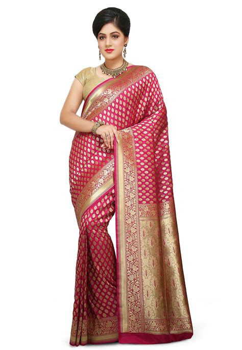 banarasi saree  fuchsia stea