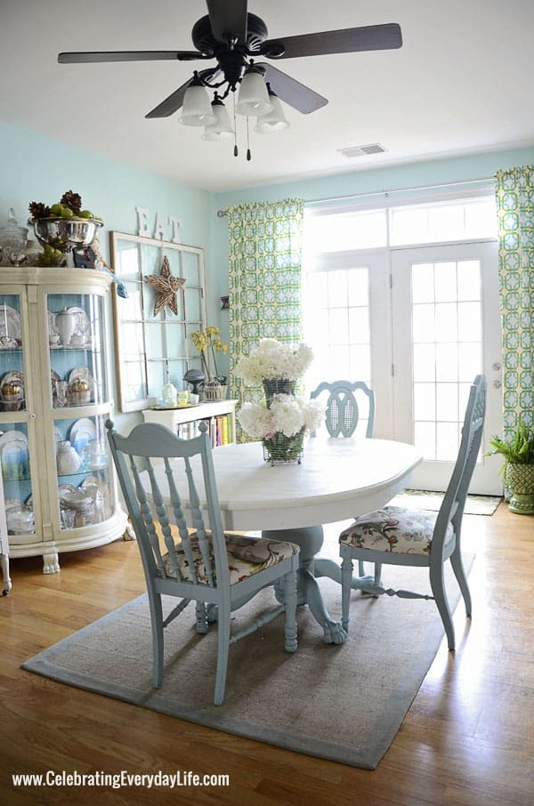 Turquoise and White Dining Room from Celebrating Everyday Life with Jennifer Carroll