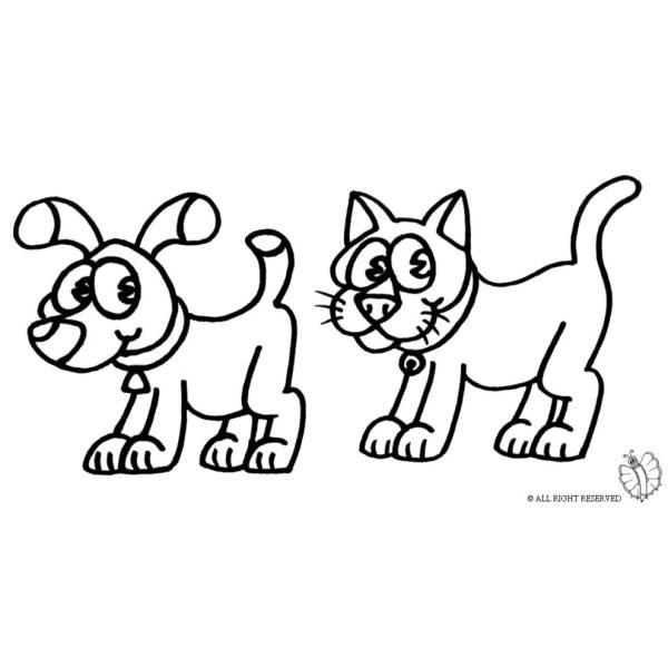 Disegno Di Cane E Gatto Da Colorare Per Bambini